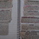 Acting auditions pasted in a spiral notebook